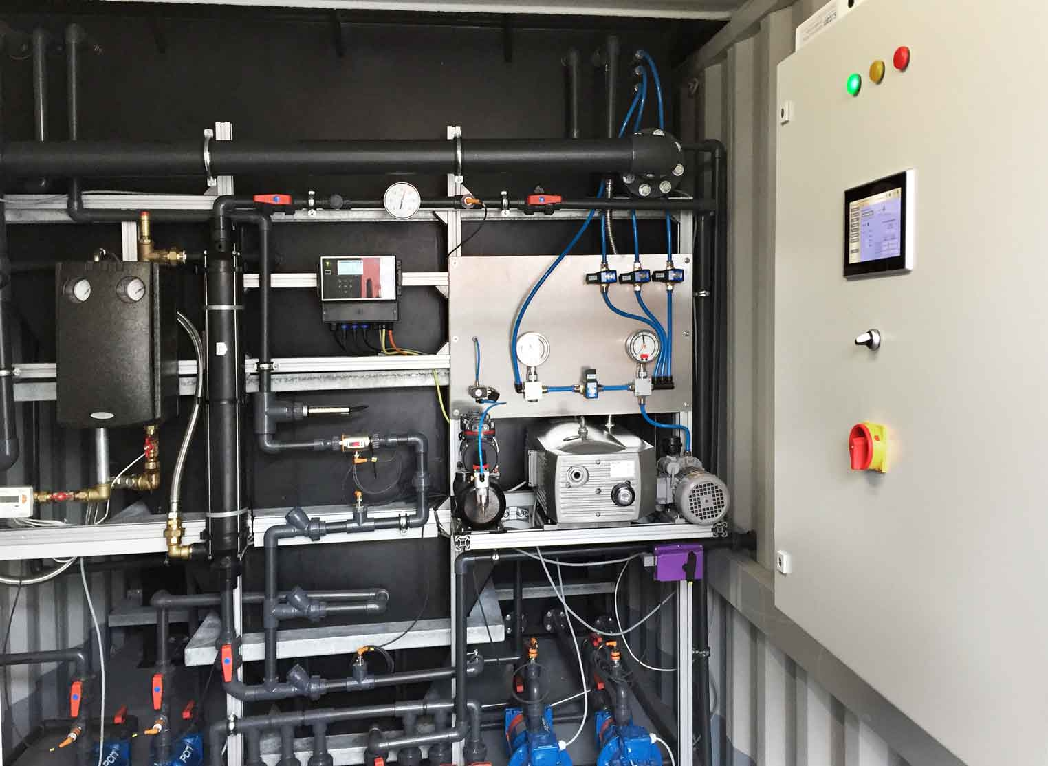 a technical room from a container system from the inside