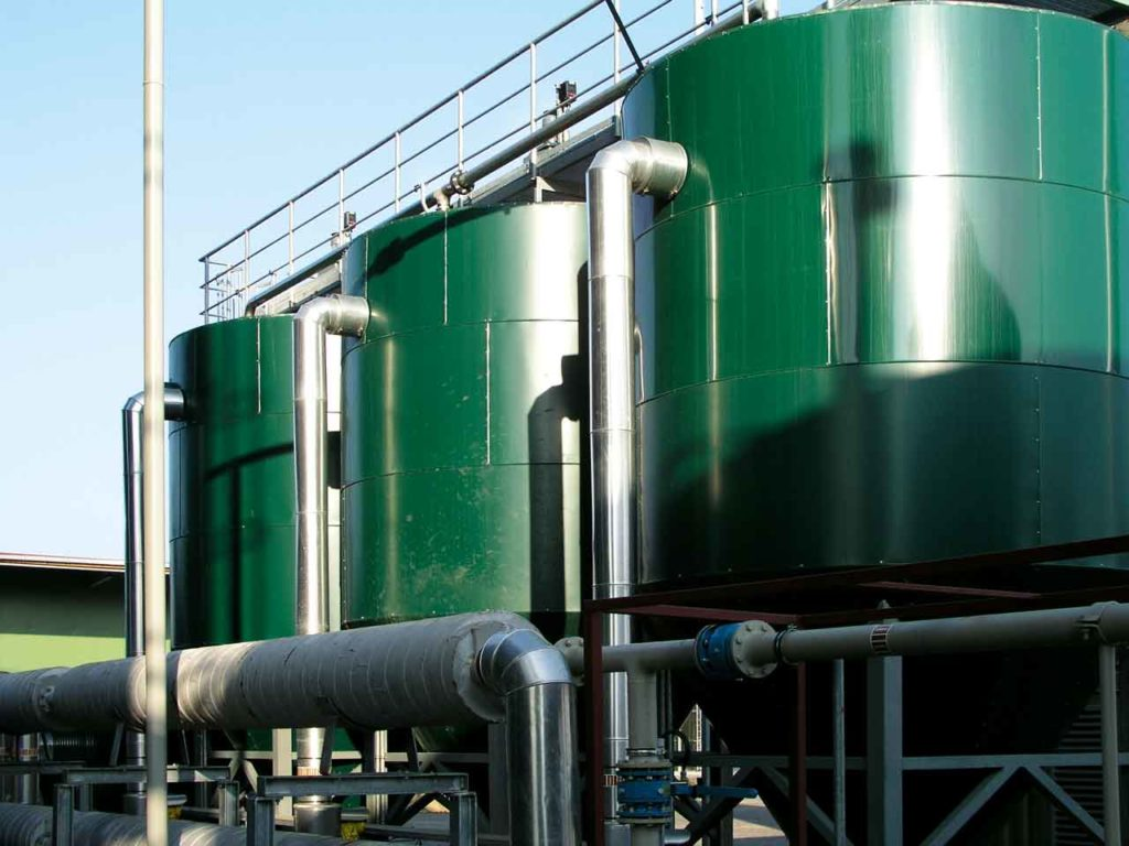 a green biogas plant from the outside