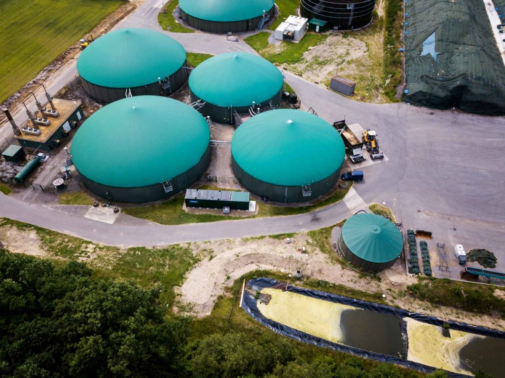 an aerial view of a biogas plant