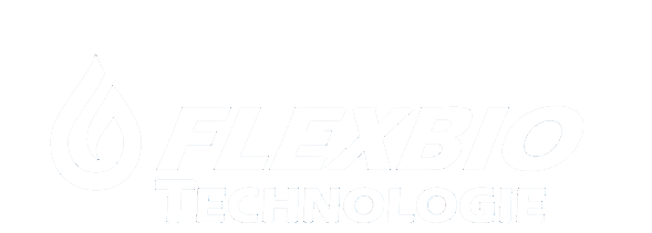 Logo FlexBio Technologie in weiß mit einem weißen Tropfen auf einem transparenten Hintergrund