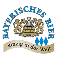 Logo Bavarian Beer eV with the slogan unique in the world on a banderole and a symbol with a lion