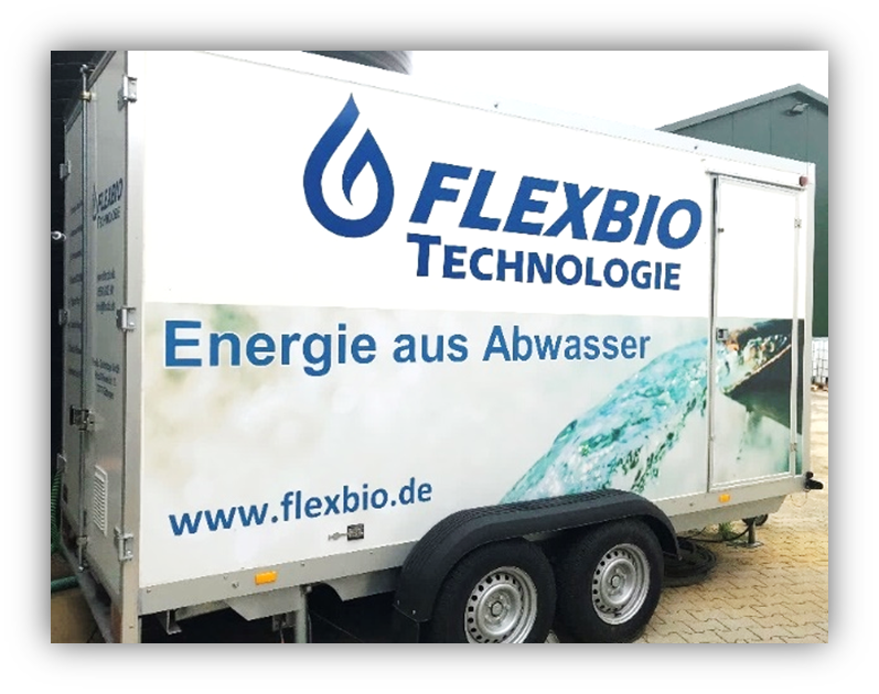 Die Vorführanlage der FlexBio Technologie GmbH von außen