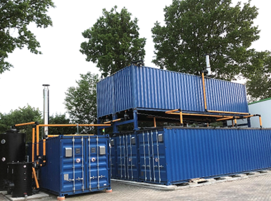 several blue container systems from the outside