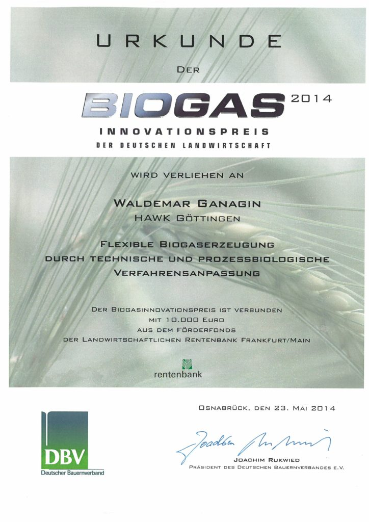 Certificate for the Biogas Innovation Award 2014 to the Chief Technology Officer Waldemar Ganagin of FlexBio Technology GmbH