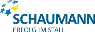 Logo Schaumann in blue with five blue stars and one yellow star arranged in a circle above the name
