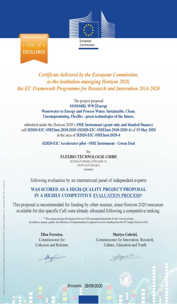a certificate from the European Commission for FlexBio Technologie GmbH