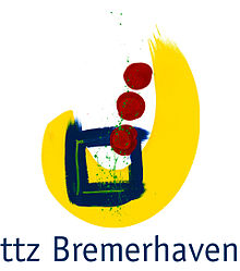 Logo ttz Bremerhaven with three red dots in the foreground, behind a blue square box and behind it a broad yellow brushstroke