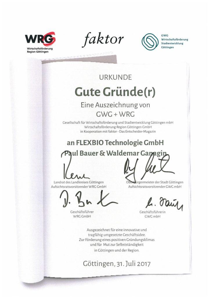 Certificate from the economic development of the Göttingen region for good founders to FlexBio Technologie GmbH