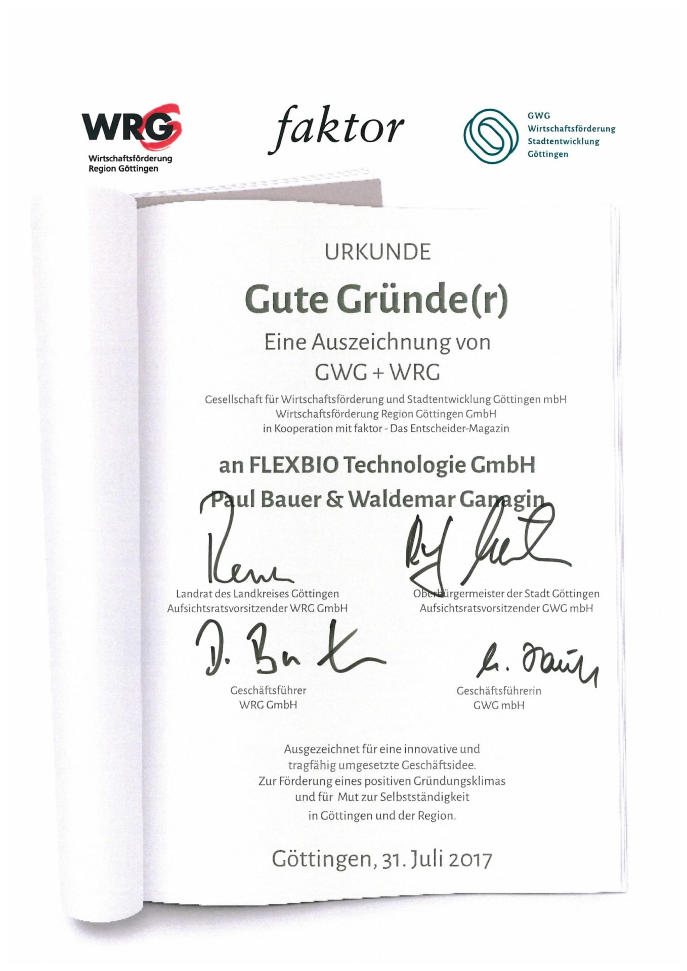 Certificate from the economic development of the Göttingen region for good founders to FlexBio Technologie GmbH