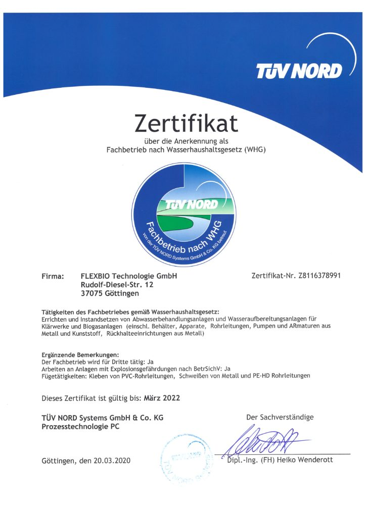 Certificate from VÜV Nord for recognition as a specialist company according to the Water Management Act to FlexBio Technologie GmbH