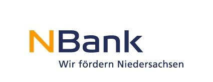 Logo NBank with the slogan we promote Lower Saxony in the colors yellow and blue on a white background