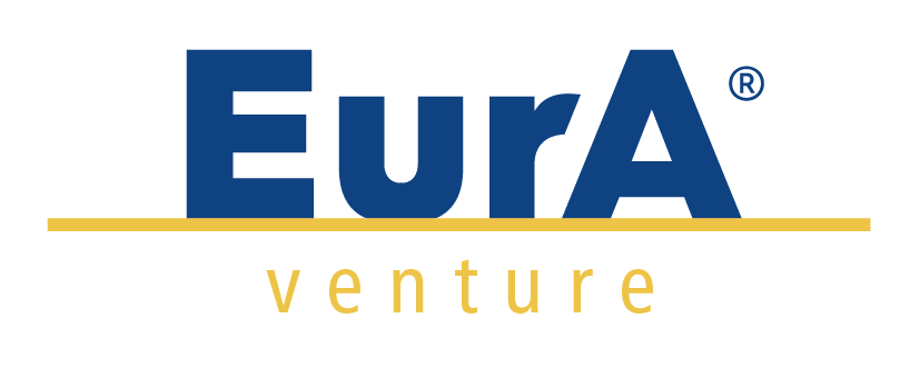 EurA venture logo in blue and yellow on a transparent background
