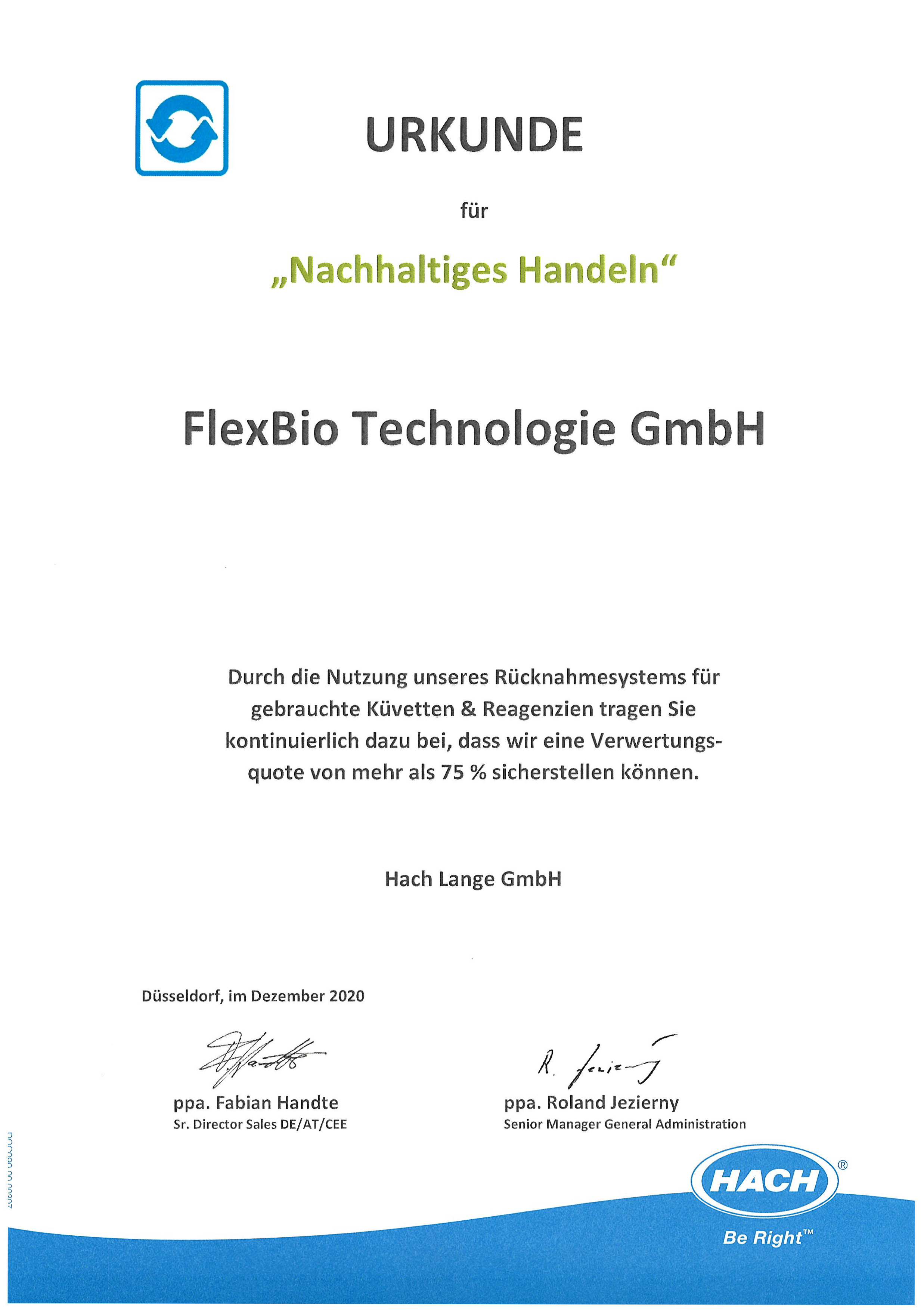 Certificate from the Hach Company for sustainable action to FlexBio Technologie GmbH