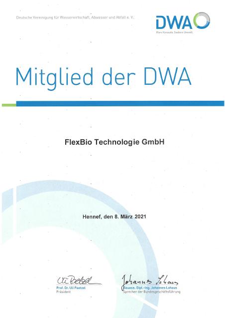 Die DWA zeichnet die FlexBio technologie GmbH als Mitglied der DWA aus