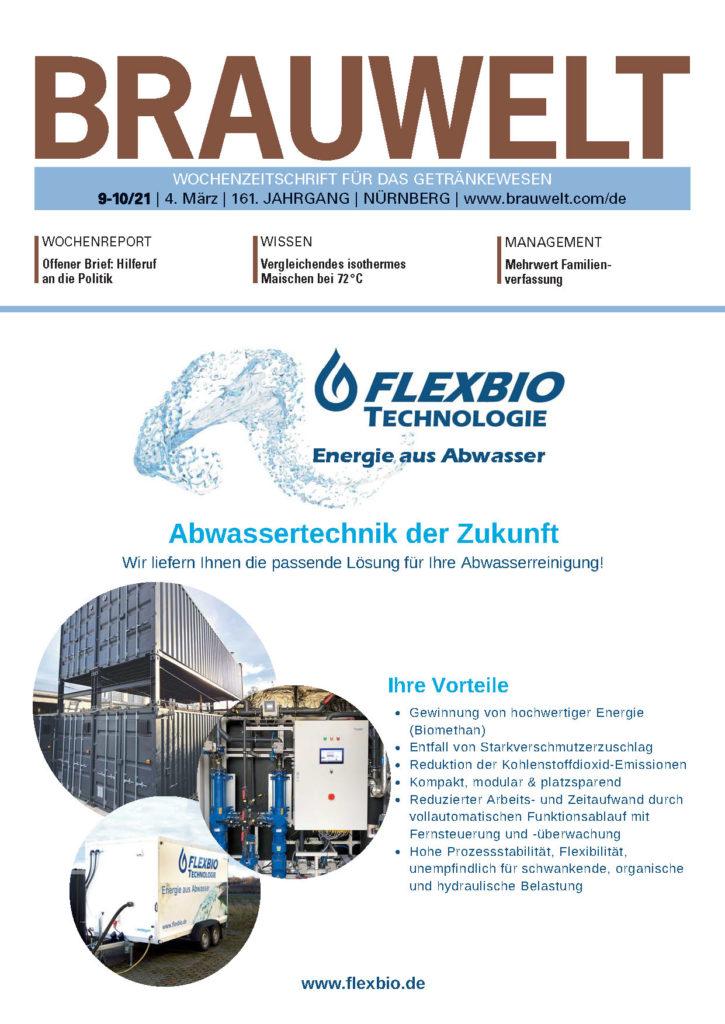 Главная страница BRAUWELT FlexBio Technologie Очистка сточных вод на пивоваренных заводах