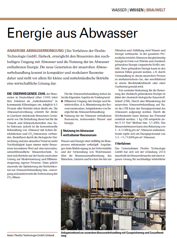 Energy from wastewater Technical article from Flexbio Technologie GmbH