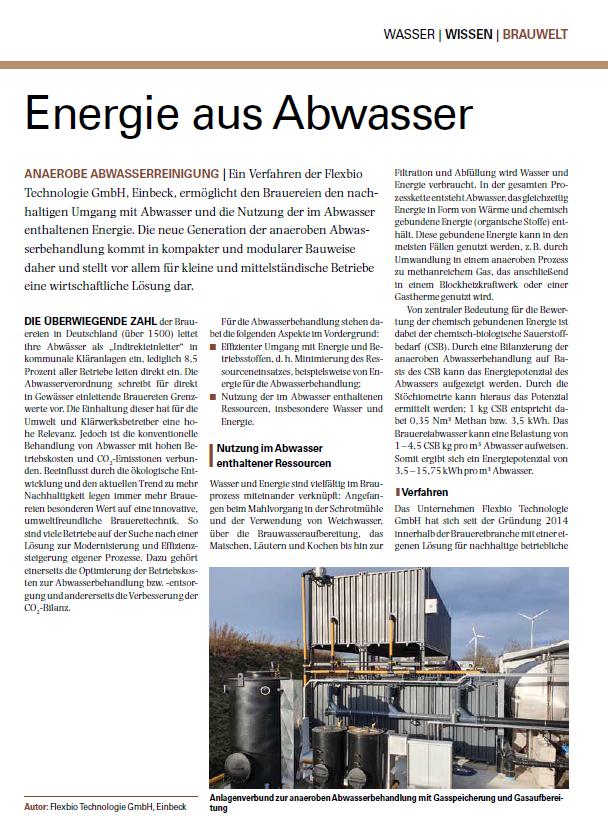Energie aus Abwasser Fachartikel von der Flexbio Technologie GmbH